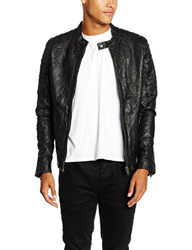 Fit Noos Jacket Lamb Leather Black Fit Negro VINTAGE Jjvrichard Hombre JACK para JONES slim Chaqueta amp; Bw0x4qcZR