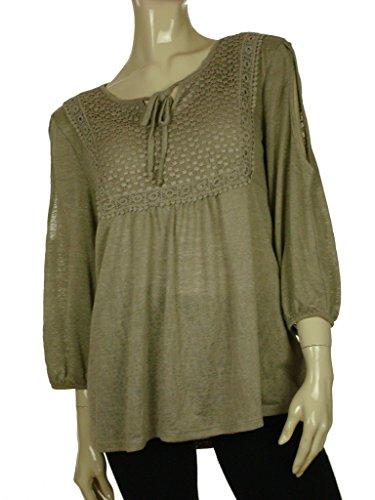 Style & Co. Women's Crochet-Trim Cold-Shoulder Knit Top (L, Summer Straw)