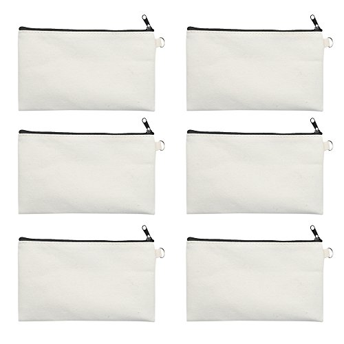 (Aspire 6 Pieces Canvas Zip Pouches for DIY Project, 7 3/4