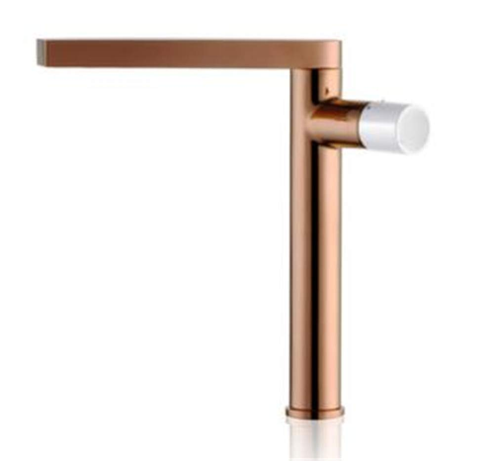 pink gold and White YAWEDA Chrome Brass Single Handle Hot and Cold 360 Degree redating Bathroom Basin Faucet,pink gold and Black