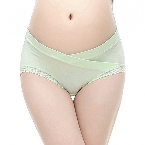 Women underwear Pregnant cotton underwear low-waist cotton prop belly big yards Seamless briefs lace underwear Maternity Pants Purple+Pink+Champagne+Green