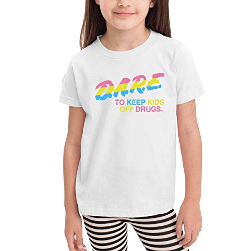 Children's T-Shirt Dare to Keep Kids Off Drugs Kids Boys and Girls Short-Sleeved Shirt White