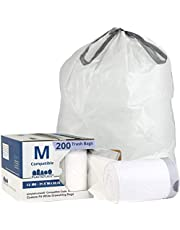 """Plasticplace Custom Fit Trash Bags │ Simplehuman Code M Compatible (200 Count) │ White Drawstring Garbage Liners 12 Gallon / 45 Liter │ 21.5"""" x 30.75"""""""