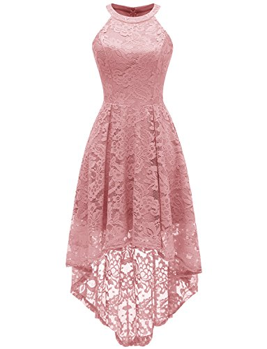 Dressystar 0028 Halter Floral Lace Cocktail Party Dress Hi-Lo Bridesmaid Dress L Blush