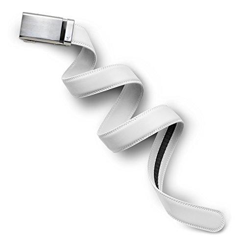 (Mission Belt Men's Ratchet Belt - 35mm Alloy Buckle/White Leather, Custom (up to 56))