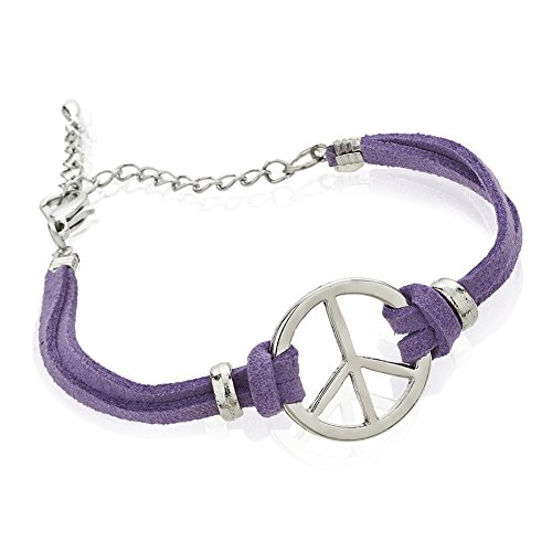 Zinc and Purple Suede Leather Cord Peace Sign Double Strand Wrap Bracelet, Jewelry for Women & Girls (Suede Peace Bracelet Sign)