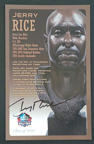 PRO FOOTBALL HALL OF FAME Jerry Rice NFL Signed Bronze Bust Set Autographed Card with COA (Limited Edition #85 of 150) ()