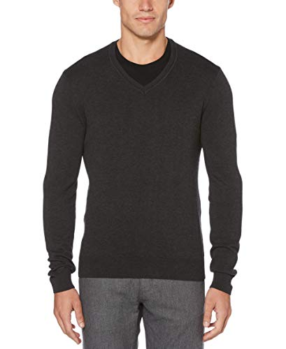 - Perry Ellis Men's Classic Solid V-Neck Sweater, Charcoal Heather, Medium