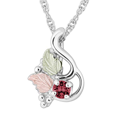 Genuine Idaho Garnet Pendant Necklace, Sterling Silver, 12k Green and Rose Gold Black Hills Gold Motif, - Garnet Hill Jewelry