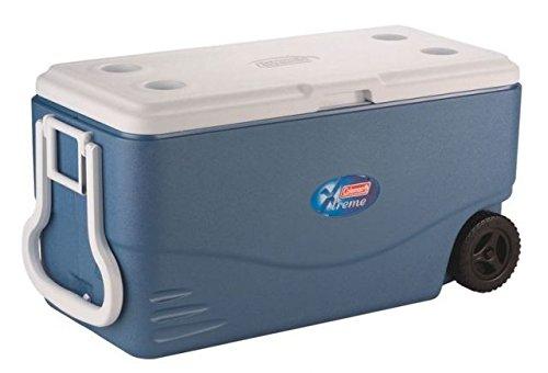 100 Quart Xtreme Wheeled Cooler - Coleman Xtreme 5 - 100 Quart Wheeled Cooler, Blue, Holds 160 Cans