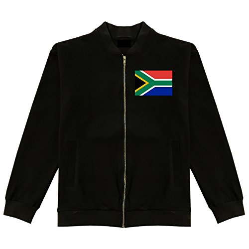 South Africa Flag Country Chest Cotton Bomber Jacket Large Black by Kings Of NY