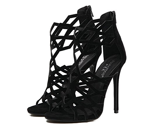 Hollow caseros Zapatos para Negro DANDANJIE Toe Mujer Stiletto Sandalias tacón Point Up Alto de tacón Shoes out de Zapatos Lace Slingback qq4wvH