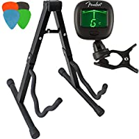 Guitar Stand Folding A-Frame for Acoustic and Electric + Clip-On Electronic Tuner + 4 Assorted Picks — Great Gift for Beginners and Advanced Players