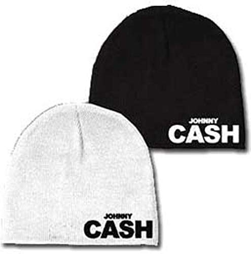 Merch Traffic Johnny Cash OSFM Adult Reversible Beanie Knit Hat Black White ()