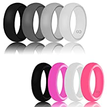 Silicone Wedding Ring For Men & Women By DoerDo, Durable Couple Rubber Sport Band For Active Style - Classical Combination 4 Rings Pack