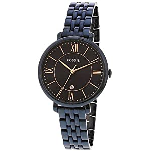 Fossil Women's Quartz Stainless Steel Casual Watch, Color:Blue (Model: ES4094)