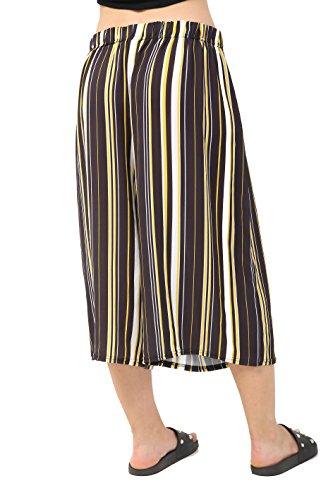 Schlag Pantalon rayures Marron Comfiestyle Femme aq1x7FT