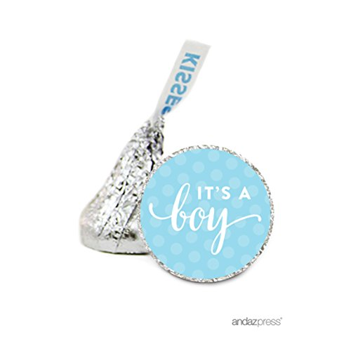 Andaz Press Chocolate Drop Labels Stickers Single, Baby Shower, It's a Boy!, 216-Pack, For Hershey's Kisses Party Favors, Gifts, Decorations