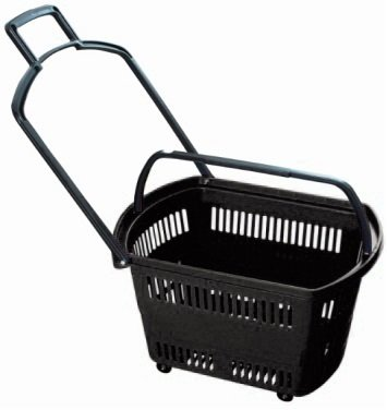 Set of 6 BLACK Grocery Shopping Carts - Retail Grocery Baskets w/ Swivel Wheels, Pull-along handle + Fold-up Handles for Easy Lifting. Heavy-duty ABS Plastic - 23.6'' x 13.7'' x 14''