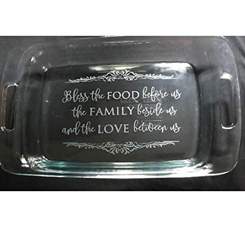 Engraved customized Casserole Dish, Personalized 3 quart glass dish ()