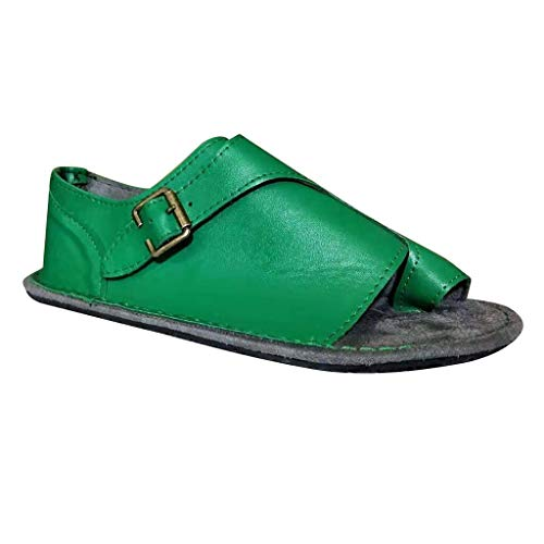 TIFENNY Summer Toe Loop Sandals for Women Sandals Retro Buckle-Strap Sandals Flat Bottom Vintage Roman Shoes Green