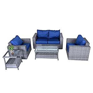 5pc Outdoor PE Wicker Rattan Sectional Furniture Set with Dark Blue Seat and Back Cushions, Aluminum Frame, Gray