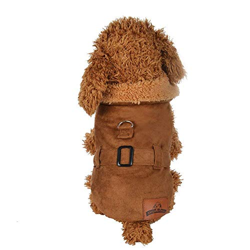 Swomen Cute Pet Clothes Dog Jacket Cool Coat, Padded Thickening Imitation Deer Leather Jacket Dog Costumes Cool Shirt T-Shirt Yellow L]()