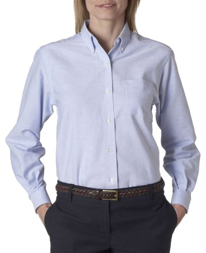 Van Heusen 59800 Womens L-Sleeve Wri-Resistant Oxford - Light Blue - X-Large