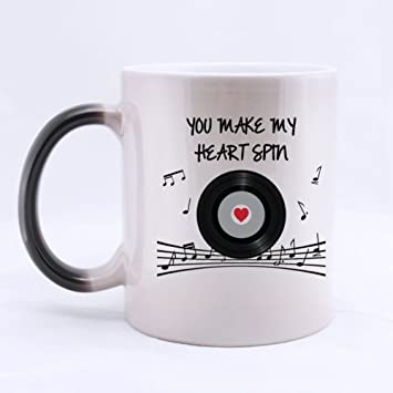romantic saying you make my heart spin heat sensitive color changing mug custom ceramic morphing coffee