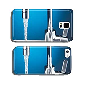 mixer tap with flowing water, closeup view cell phone cover case Samsung S5