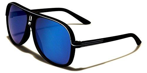 Black Silver Accents Soft-Feel Matte Frame Aviator Men Women Sunglasses