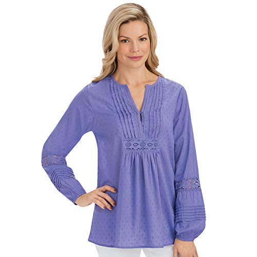 Women's Crochet Trim Woven Pintuck Long Sleeve Tunic with Crochet Accents - Stylish Seasonal Top, Periwinkle, ()