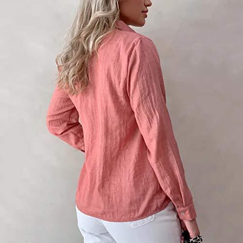 Blusa Originales Para Botón Mujer Verano De Camiseta Manga Bobolover Rojo Larga Tops Top q6FPXxWw