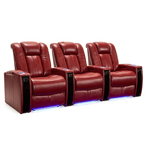 Seatcraft Monaco Leather Home Theater Seating Power Recline with Adjustable Powered Headrests and Built-In SoundShaker (Row of 3, Red)