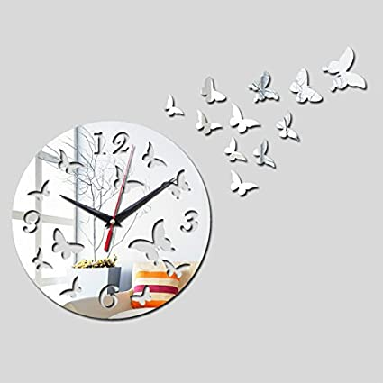 Alrens(TM)Romantic Butterfly Wall Clock Acrylic Mirror Abstract Quartz Watch Living Room Reloj