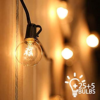 Outdoor String Lights Mains Powered Festoon Lighting 25ft G40 Ip44 For Indoor Outdoor Backyard Patio Cafe Garden Party Decoration Warm White Tomshine 25 Bulbs 5 Spare Bulbs 3 Fuse Amazon Co Uk Lighting