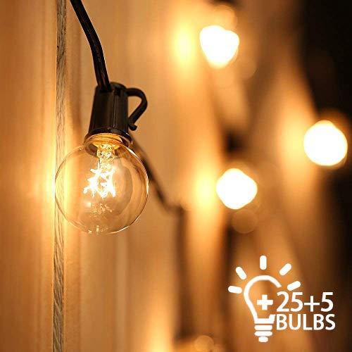 Outdoor String Lights Mains Powered Festoon Lighting 25FT G40 IP44 for Indoor & Outdoor Backyard Patio Cafe Garden Party…