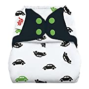 Flip Hybrid Reusable Cloth Diaper Cover with Adjustable Snaps and Stretchy Tabs - Fits Babies from 8 to 35+ Pounds (Go)