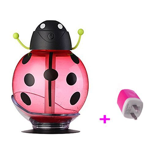 Beatles Cool Mist Humidifier, Sprtjoy 260ml Ultrasonic Whisper-quiet USB Portable Air Diffuser Purifier Atomizer with LED Light, 360 Degree Rotation, Car Sucker, Automatic Shut-off (Red) by Sprtjoy