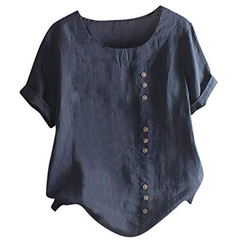 Londony❀♪ Women's Short Sleeve Cotton Linen Jacquard Blouses Top T-Shirt Linen Retro Chinese Frog Button Tops Blouse