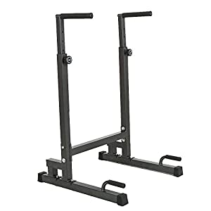 Lucky Tree Adjustable Dip Station Strength Training Exercise Power Rack Dipping Stand Parallel Bar for Home Gym
