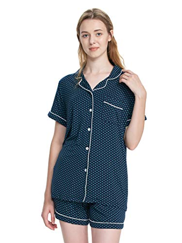 SIORO Short Pajamas Womens Soft Cotton Pajama Sets Lightweight Sleepwear Knit Lounger Nightgown with Pjs for Women, Navy with White Piping with Green Dots, L ()