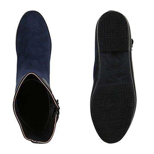 Stiefelparadies Sportliche Damen Chelsea Boots Stiefeletten Veloursoptik Flandell Dunkelblau Schnallen