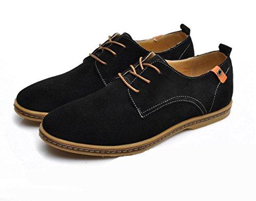 WZG zapatos casuales de los nuevos hombres de la moda otoño zapatos de cuero de gamuza de los hombres de los planos 9.5 Black