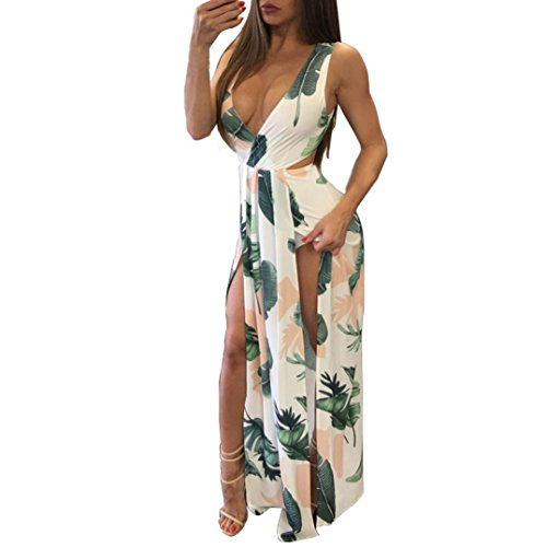 Price comparison product image Vovotrade Women's V-Neck Sleeveless Boho Long Maxi Evening Party Beach Dress Floral Sundress (S, White)