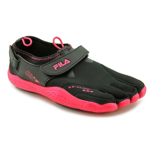 Fila Skeletoes EZ Slide Drainage Women's Shoes Minimalist Five Finger Size 7 black/ hotpink