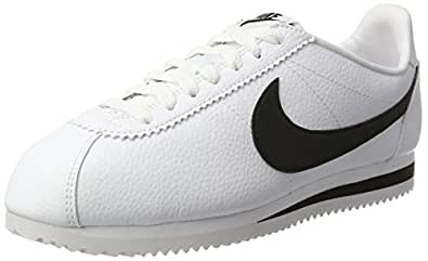 Nike Australia Men's Classic Cortez Leather Trainers, White/Black, 7 US