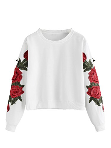 Romwe Women's Casual 3D Embroidered Crew Neck Pullover Crop Top Sweatshirt White# XL/US 10 -