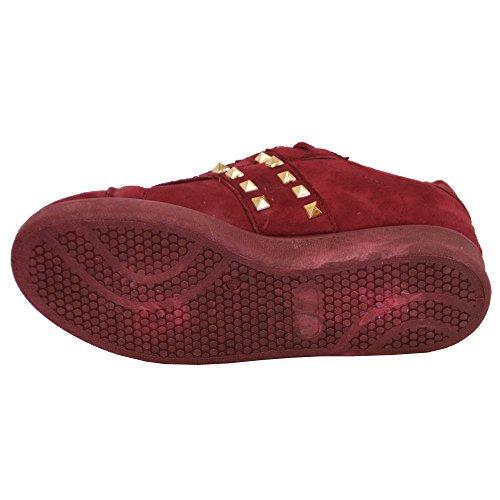 femmes cuir suédé LOOK PLAT Baskets Femmes Chaussures lacet Clous CHAUSSURES MODE décontractée Vin - Am966 bkfKmdJhG0