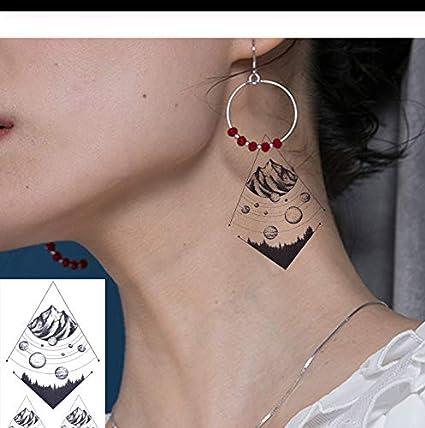 LFVGUIOP Pequeño Planeta Realista Impermeable Oído Brazo Tatuajes ...